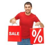 Mężczyzna z torba na zakupy Fotografia Stock