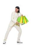 Mężczyzna z torba na zakupy odizolowywającymi na bielu Zdjęcia Stock