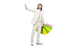 Mężczyzna z torba na zakupy odizolowywającymi na bielu Obraz Royalty Free