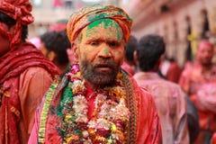 Mężczyzna z twarzą w pełni mażącą z colours Zdjęcie Royalty Free