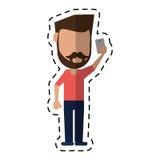 Mężczyzna z wąsy brodą używać smartphone kropki linię Obraz Royalty Free