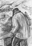 Mężczyzna z wheelbarrow Mężczyzna w tło tajgi wzgórzach Zdjęcia Royalty Free