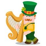 Mężczyzna z złotą harfą St Patrick s dzień Obraz Stock