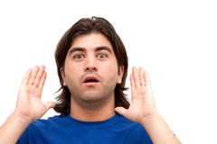 mężczyzna zaskakujący zdjęcia stock