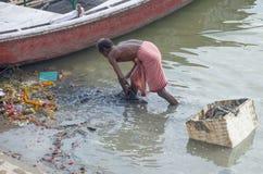 Mężczyzna zbiera śmieci w gang rzece India Fotografia Stock