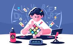 Mężczyzna zbiera Rubik sześcianu zegaru mistrzostwa pojęcie ilustracja wektor