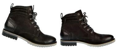 Mężczyzna zimy czarny but odizolowywający Obrazy Stock