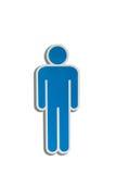 Mężczyzna znaka dostęp dla toalety, Toaletowy symbol dalej odizolowywa białego backg fotografia stock
