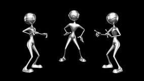 Mężczyzny 3D zabawy charakter 2 Wideo pętli na tle na Alfa kanale i - royalty ilustracja