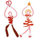 Mężczyzny i kobiety przewożenia chrześcijanin zaświeca i miłość, evangelism ilustracji