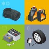 Męczy usługowego samochodowego samochód, remontowego ikony mieszkania ustalona wektorowa isometric ilustracja Consumables dla sam ilustracji