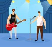 Męscy artyści Bawić się gitarę elektryczną i śpiew ilustracji