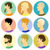 Męscy avatar faceci na barwionym również zwrócić corel ilustracji wektora Zdjęcie Stock