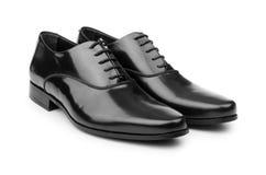 Męscy czerń buty odizolowywający na bielu Zdjęcia Stock