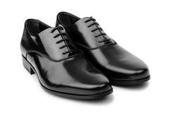 Męscy czerń buty odizolowywający na bielu Obrazy Stock