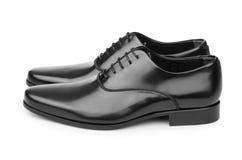 Męscy czerń buty odizolowywający na bielu Zdjęcia Royalty Free