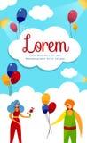 Męscy i Żeńscy komediantów artyści z balonami ilustracja wektor