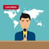 Męscy TV podawcy siedzą przy stołem Żywa wiadomość Wiadomość worl ilustracji