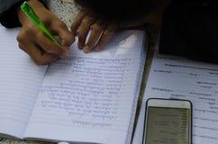 Męscy ucznie robią pracie domowej z intent Szuka stażysty Zdjęcie Stock
