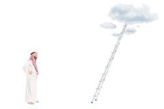 Męska arabska osoby pozycja przed drabiną Zdjęcia Stock