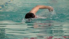 Męska atleta pływa w basenie zbiory wideo