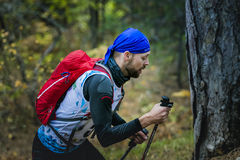 Męska atleta z północnym chodzącym słupa zbliżeniem Zdjęcie Royalty Free