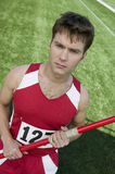 Męska atlety mienia darda obrazy stock