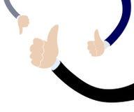 Męska biznesmen ręka z kciukiem w górę i na dół Zdjęcia Stock