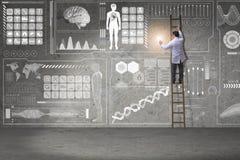 Męska doktorska wspinaczkowa drabina w medycznym pojęciu Obraz Stock
