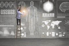 Męska doktorska wspinaczkowa drabina w medycznym pojęciu Fotografia Stock