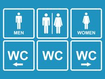 Męska i żeńska WC ikony oznaczania toaleta, toaleta Obrazy Stock