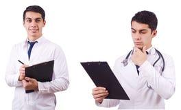 Męska lekarka odizolowywająca na bielu Obrazy Royalty Free
