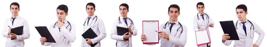 Męska lekarka odizolowywająca na bielu Obrazy Stock