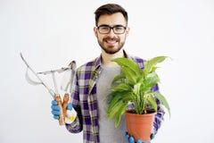 Męska ogrodniczka z narzędziami Obrazy Stock