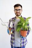 Męska ogrodniczka z narzędziami Zdjęcie Royalty Free