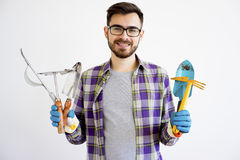 Męska ogrodniczka z narzędziami Obraz Royalty Free