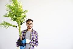 Męska ogrodniczka z roślinami Zdjęcia Stock