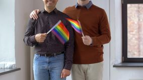 Męska para z homoseksualnej dumy tęczą zaznacza w domu zbiory wideo