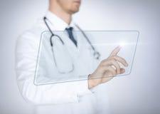 Męska ręka dotyka wirtualnego ekran Obrazy Stock