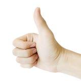 Męska ręka gestykuluje ok znaka odizolowywającego na białym tle Zdjęcia Royalty Free