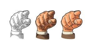 Męska ręka pokazuje figa znaka Wektorowy czarny rocznik grawerował ilustrację odizolowywającą na białym tle Dla sieci, plakat Zdjęcia Royalty Free