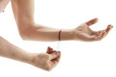 Męska ręka stosuje jod Fotografia Stock