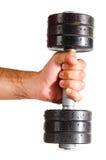 Męska ręka z metalu barbell Zdjęcia Royalty Free