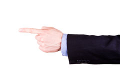 Męska ręka z wskazywać palec pokazuje coś obraz royalty free