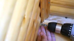 Męska ręki śruba śruba w drewno z śrubokrętem zdjęcie wideo