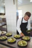 Męska szefa kuchni garnirowania zakąska w talerzu Fotografia Stock
