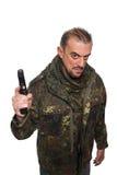 Męska terrorystyczna militarna kurtka pistolet w jego ręce Fotografia Stock