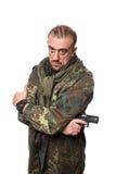 Męska terrorystyczna militarna kurtka pistolet w jego ręce Obraz Royalty Free