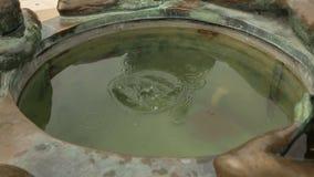 Męska turystyczna miotanie moneta w fontannę życie w Zagreb mieście Dobrze, turystyka zdjęcie wideo