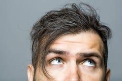 Męska twarz z okaleczającymi oczami Fotografia Royalty Free